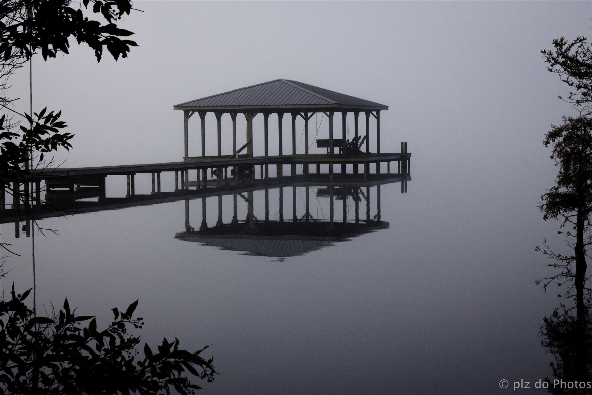 One Foggy Morning.jpg - This image was taken at Lake Waccamaw, NC from my mother's yard one fall morning.  I hoped to capture the peacefulness and beauty that I saw this morning. by Patricia Zyzyk