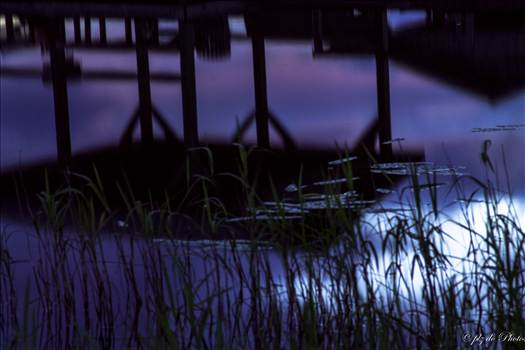Reflection of late sunset in June at Lake Waccamaw, NC